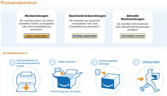 Amazon Shop Rücksendeseite Screenshot