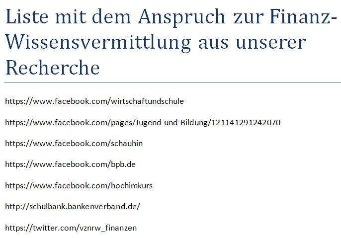 Webseiten Internet Social Media Finanzwissen
