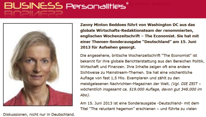 Zanny Minton Beddoes auf Business Personalities