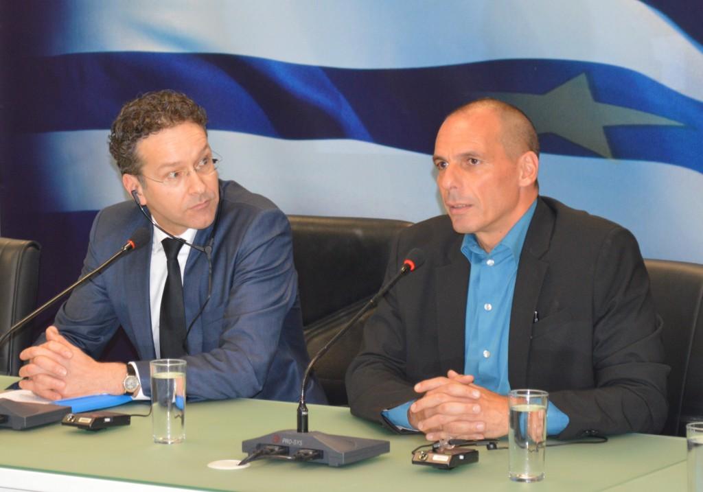 Jeroen Dijsselbloem und Yanis Varoufakis Griechenland