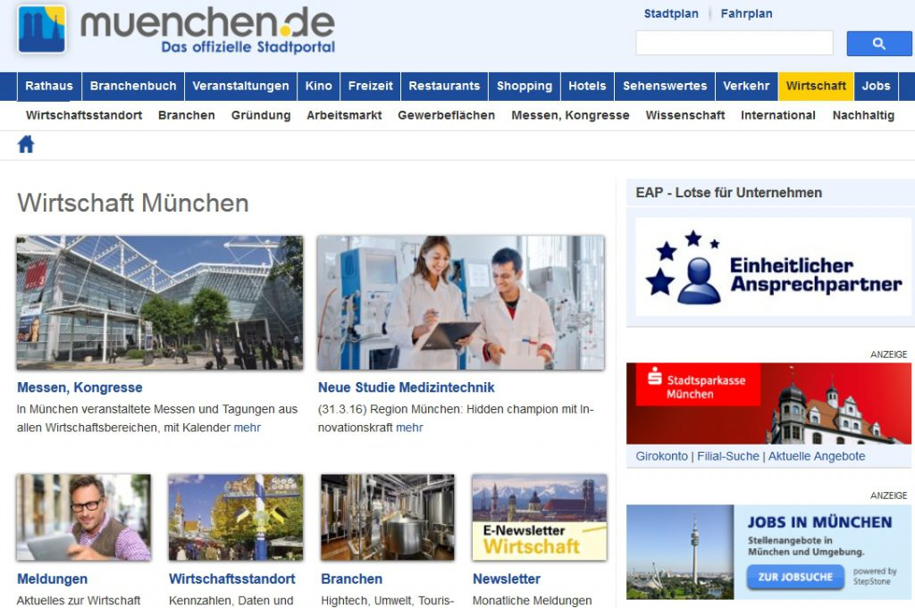 region muenchen webscreen stadtportal