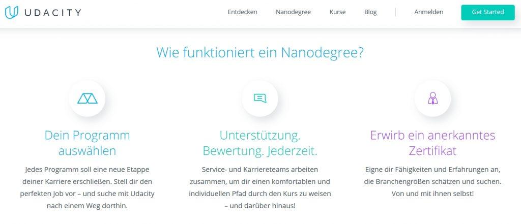 udacity online kurse screenshot